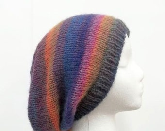 Oversized hat, hand knitted, colorful  5172