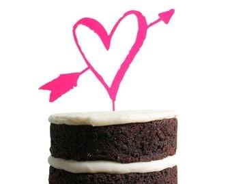 Heart and Arrow Dessert Topper - Neon Pink