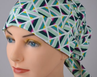 Scrub Hats // Scrub Caps // Scrub Hats for Women // The Hat Cottage // Small // Fabric Ties // Geometric