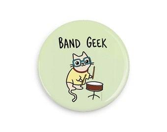 Cute Pinback Button Nerdy Cat Band Geek Cute Cat Pin Geeky Gift Funny Fridge Magnet Cute Button