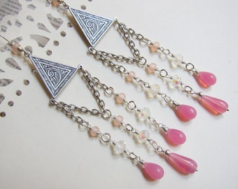Aphrodite of the Roses - Antique silver, crystal, rosy glass chandelier earrings