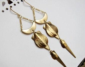 Sale - Geometrics, Figure III - Golden Raw Brass Geometry Chandelier Earrings