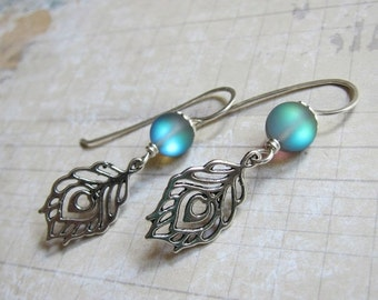 Sale - Royal Plumes - Silver Peacock Feather Earrings with Iridescent Quartz