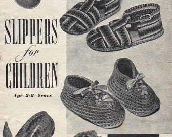Bestway Slippers for Children Vintage Knitting Crochet Pattern PDF Instant Download