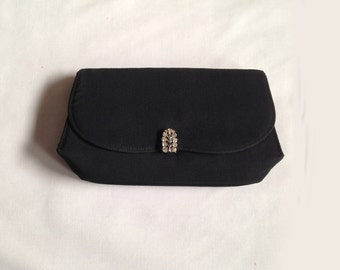 Vintage Evening Bag, Clutch, Black, Rhinestone Clasp, Envelope, Paris, 1950s