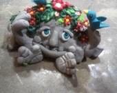 Spring Happy Rock OOAK Handcrafted Original Art Sculpture Fantasy Miniature Creation Design