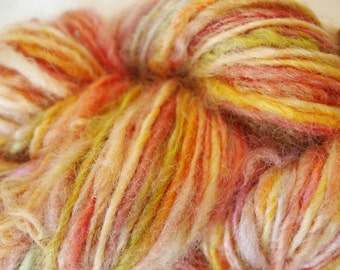 ASPEN PINK Handspun Wool Art Yarn Fleecespun Coopworth 145yds 3.1oz 7-8wpi aspenmoonarts knitting Weaving