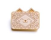 Custard Cream Cat - Wooden Badge / Pin / Brooch