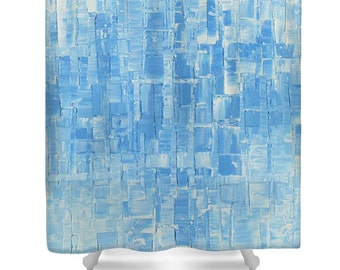 Modern Light Aqua, Baby Blue & White Shower Curtain Designer Abstract Squares Serene Calming Water Art, bathroom home decor by Susanna