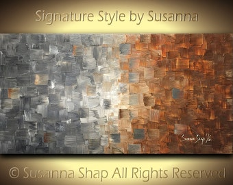 ORIGINAL large abstract earthy art on canvas modern textured gray beige rust palette knife painting wall decor 48x24 by susanna