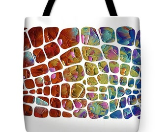 Modern Art Tote bag, rainbow white colorful bag tote bag beach bag market shopping bag, green, reusable, supermarket, grocery