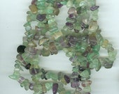 Shades of Green and Purple Fluorite Chip Gemstone Beads 34 inch Strand Bead Chips