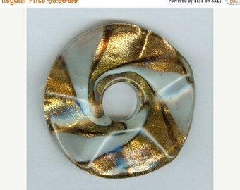 CLEARANCE Wavy 47mm White and Gold Foil Glass PI Donut Pendant
