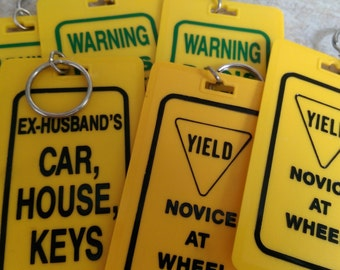8 x Vintage OVERSIZED Yellow Key Chains with Sayings