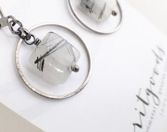 Everyday Earrings - rutilated quartz genuine stone - Hoop, Bridesmaid, Active Women Jewelry