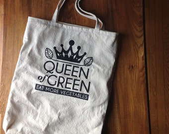 Canvas Market Tote- Queen of Green