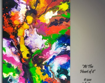 Canvas Art, Giclee Print From My Original Abstract Fluid Acrylic Painting, 24x36 inches, large wall art