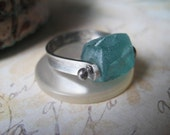 RESERVED Roman Glass Ring, Ancient Roman Glass, Sterling Silver, Aqua Glass, Statement Ring, Sterling Band, Signature Wrapped