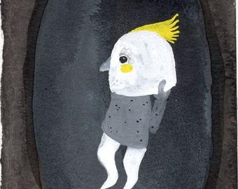 Cockatoo Mask / watercolour gouache original