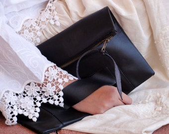 Large Leather Clutch in Black Italian Leather