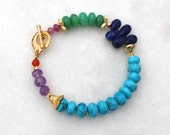 Fix Up, Look Sharp...Turquoise, Chrysoprase and Multi gemstone layering bracelet in 14k Gold fill...