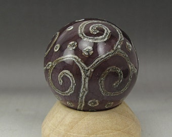Handmade Lampwork Glass Scroll Marble Handmade by Jason Powers SRA