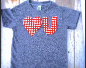 Valentine's Day Heart U - love you T Shirt Applique- Kids Boys Girls Matching Twins Big Bro Lil Sis red white hearts children baby 1st