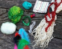 Art Batt Spinning Fiber- How to Spin Art Yarn Add In Kit.  Perfect Christmas Holiday GIft for your Favorite Spinner