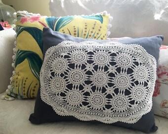 Linen & Lace Pillow - Slate Gray Linen Doily Pillow - Vintage  Modern Decor Pillow