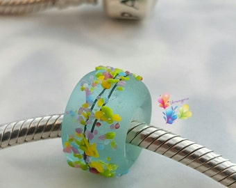European Slider Bead With Large Hole Blue Rainbow Blossom