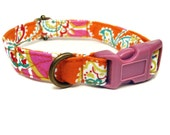 Tequila Sunrise - Orange Pink Green Vintage Bohemian Middle Eastern Organic Cotton CAT Collar - All Antique Brass Hardware