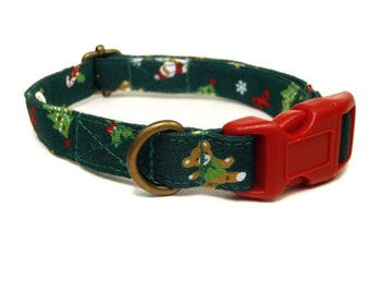 Christmas Night - Goose Santa Evergreen Christmas Tree Winter Xmas Organic Cotton CAT Collar Breakaway Safety - All Antique Brass Hardware