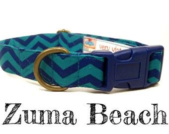 "Navy Blue Green Chevron Dog Collar - Preppy Nautical Boy Dog Collar - Organic Cotton - Antique Brass Hardware - ""Zuma Beach"""