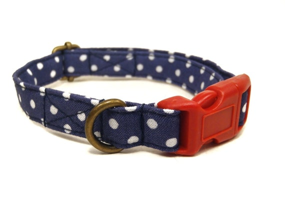 The Brandy - Organic Cotton CAT Collar Breakaway Safety Retro Vintage Navy Blue White Polka Dots - All Antique Brass Hardware