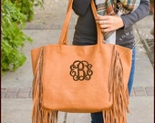 Monogrammed Camel Finlay Fringe Handbag - Personalized vegan leather purses, monogrammed double handle purses, boho fringe laptop bags