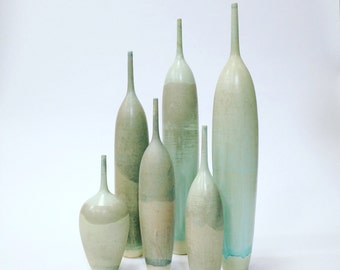 Ships Now- 6 piece collection of stoneware  bottle vases in raku- like blue green glaze.  large ceramic vase sarapaloma modern pottery decor