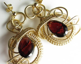 VDAY SALE Perfectly Sanguine - Blood Red Garnet in 14k Goldfill Wrapped Earrings