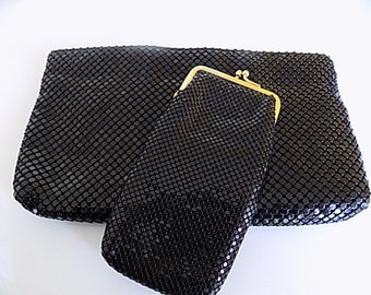 Vintage Whiting and Davis Black Mesh Metal Purse Clutch with Cigarette Case Carrier