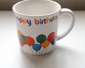 Vintage Balloons Happy Birthday Mug