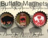 Buffalo Magnets - Polish Falcon Buffalo - Buffalo Bottle Cap Magnets - Packaged Gift Set of 3 - Buffalo NY - Buffalo Gift