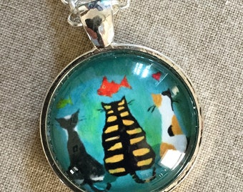 Kitty Necklace - Cat Necklace - Dream Cat Pendant - Cat Jewelry - Cat Art - Cat Gift - Cat with Fish Necklace - Gift for Cat Mom