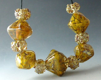 Lampwork Glass Beads by Catalinaglass SRA  Honey Crystals