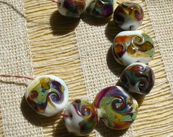Lampwork Glass Beads by Catalina Glass SRA  Welcome Fall Colors