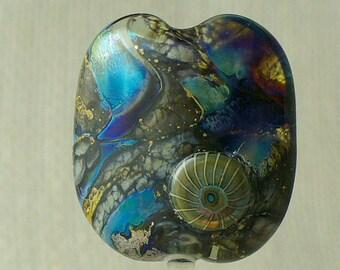SRA Handmade Lampwork Glass Bead by Catalinaglass  Silver Glass Focal