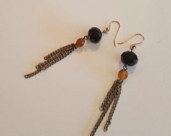 Antique Gold Chain Tassel Earrings with Black and Amber Beads