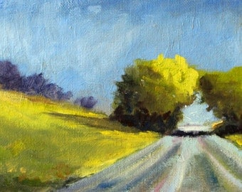 Landscape Oil Painting, Original Country Road Scene, Trees, Sky, Field, Small 5x7 Canvas, Yellow Green Blue, Summer Sunshine, Wall Decor Art