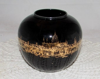 Vintage Black Ceramic Vase by Shorter & Sons Ltd of England, Image of Cityscape Venice or London in Gold, collectible, 70s