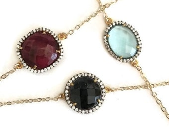 Pave bezel gemstone bracelet