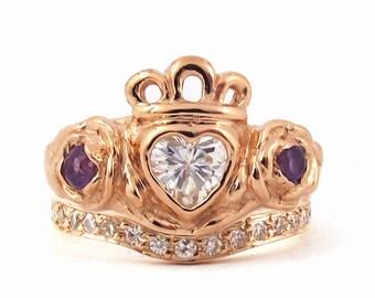 Irish Rose Engagement and Wedding Ring Set - Celtic Claddagh Promise Ring, Diamond Half Eternity Shadow Band, Alternative Wedding 179 190