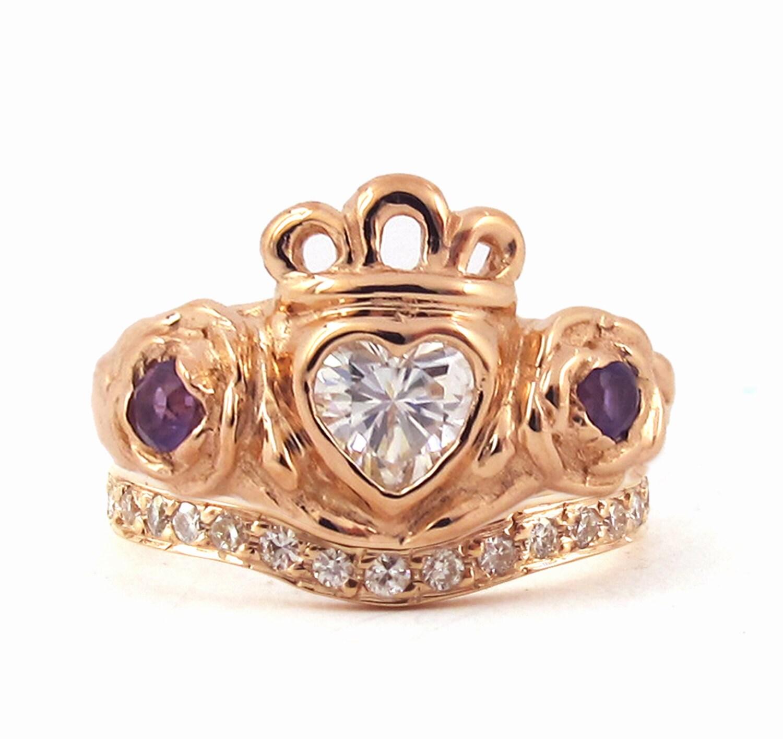 Irish Rose Engagement and Wedding Ring Set Celtic Claddagh